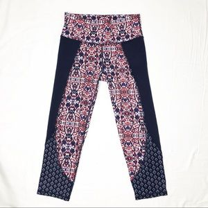 Athleta Red and Navy Print Cropped Leggings
